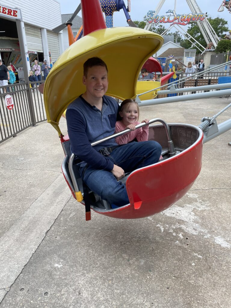 Son Nick and granddaughter Annie enjoy the helicopter ride